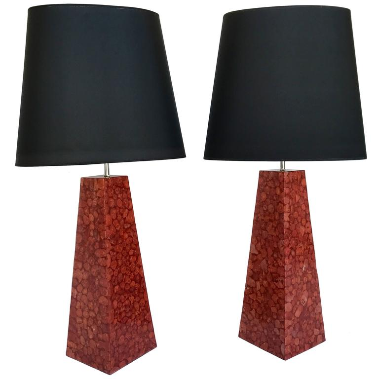 Pair of Lamps Pyramidal Coral Veneer, Italy, 1980s For Sale
