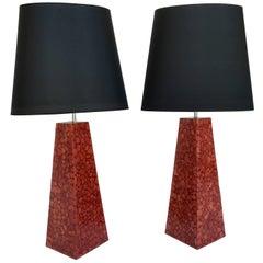 Pair of Lamps Pyramidal Coral Veneer, Italy, 1980s
