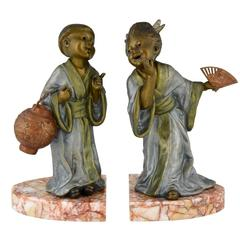 French Art Deco Bookends with Chinese Children, Geo Maxim, 1930
