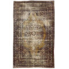 19th Century Lavar Kerman Rug with Gold, Sand- and Camel-Colored Tones