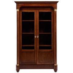 Empire Style French Antique Walnut Bookcase