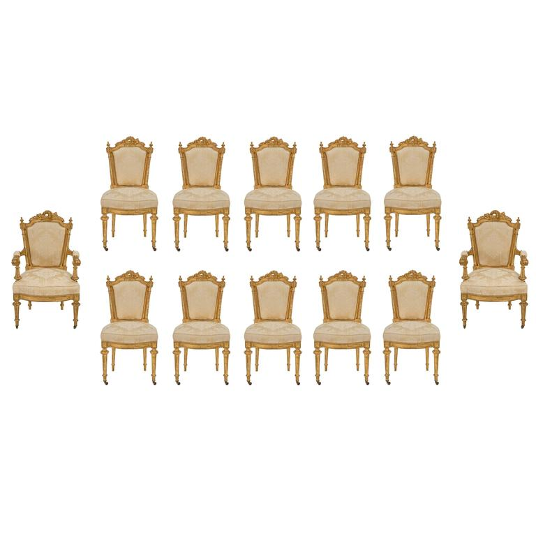Set of 12 Italian Early 19th Century Louis XVI St. Giltwood Dining Chairs