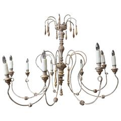 Eight-Arm Wood and Iron Chandelier from France