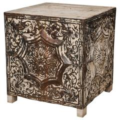 Decorative Metal and Wood Cube-Shape Table