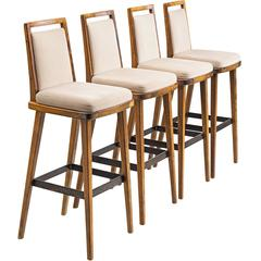 Set of Four Bar Stools in Wood and Original Upholstery, Europe, 1960s