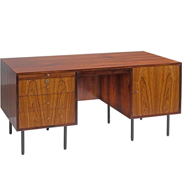 Martin Eisler & Carlo Hauner Executive Desk in Rosewood, Brazil, 1960s