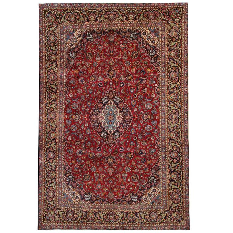 Vintage Persian Rugs, Red Rug from Kashan