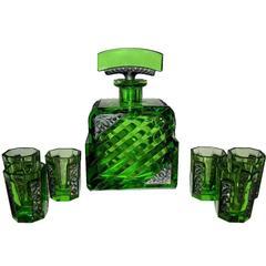 Art Deco Czech Glass Decanter Set