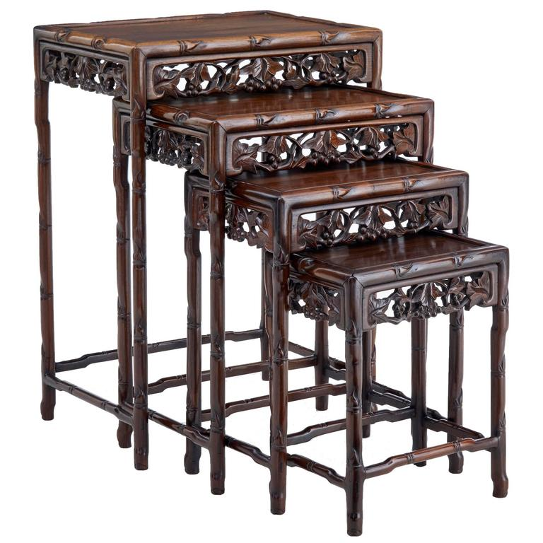 Fine set of four early 20th century chinese rosewood nesting tables fine set of four early 20th century chinese rosewood nesting tables for sale watchthetrailerfo
