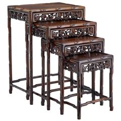 Beau Fine Set Of Four Early 20th Century Chinese Rosewood Nesting Tables