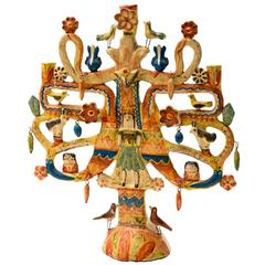 Aurelio Flores Mexican Tree of Life Candelabra