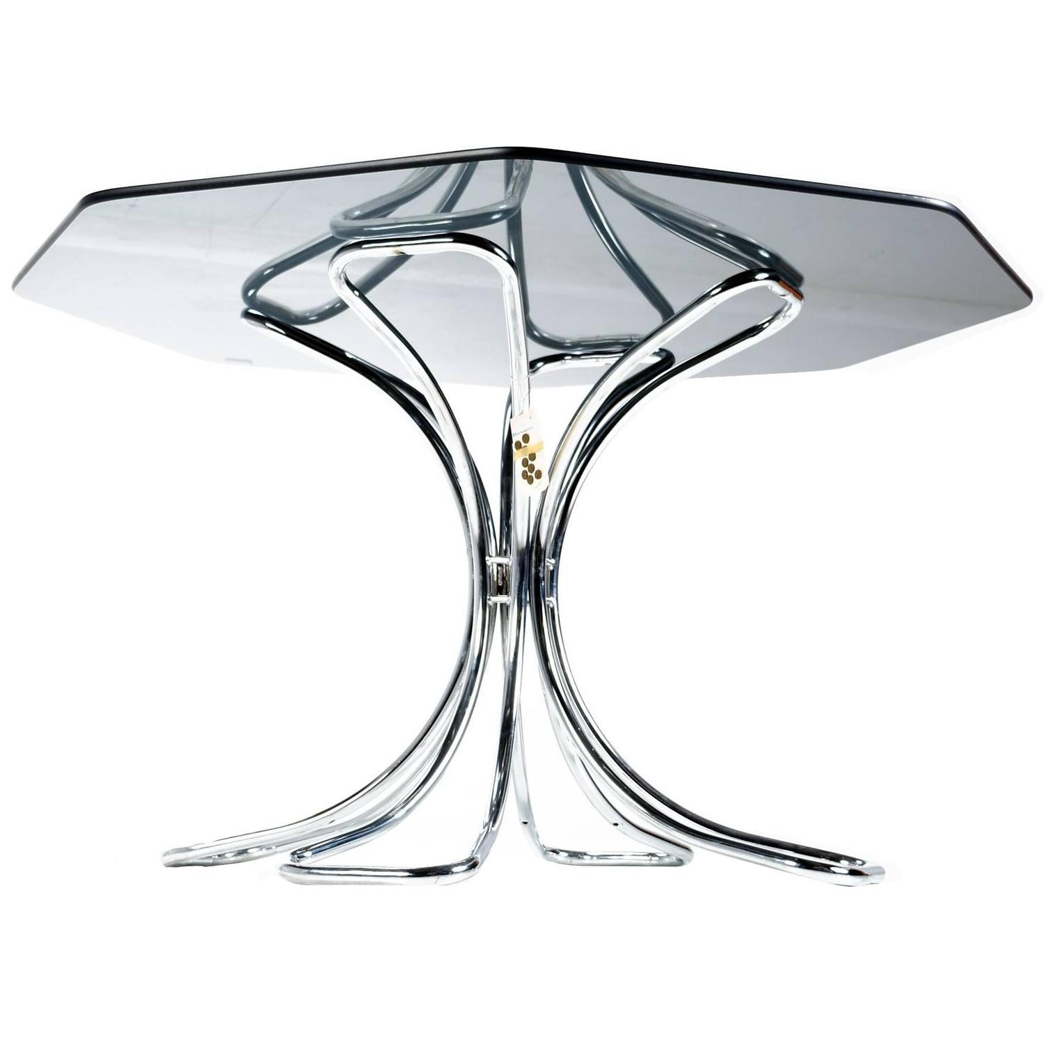 NOS Futura Chrome And Smoked Glass Octagon Dining Table, 1970s