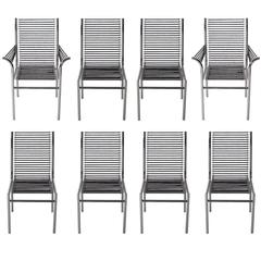 Mid-Century Italian Modern Black and Chrome Cord Bauhaus Chairs by René Herbst