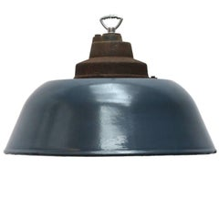 Dark Blue Grey Enamel Factory Pendant Cast Iron Top