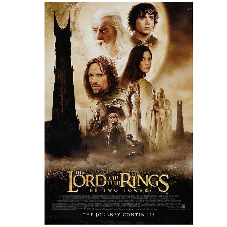lord of the rings the two towers film poster 2002 for sale at 1stdibs. Black Bedroom Furniture Sets. Home Design Ideas