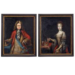 Pair of Early 18th Century Habsburg Empire Oil on Canvas Portraits
