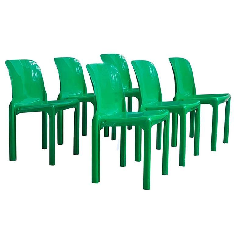6 Olijfgroene Eetkamerstoelen.1969 Vico Magistretti For Artemide Set Of Four Or Six Green Selene