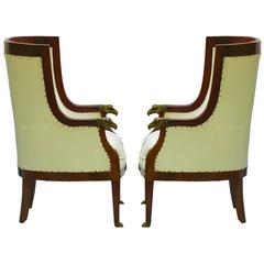Pair of Bergere Armchairs French Empire Revival Barrel Chairs