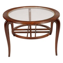 1940s Mid-Century Coffee Table Centre Table by Paolo Buffa, Walnut wax-polished