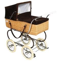 1960s Pram Baby Carriage Stroller by Perry Pram Steel Chromed and Wickerwork