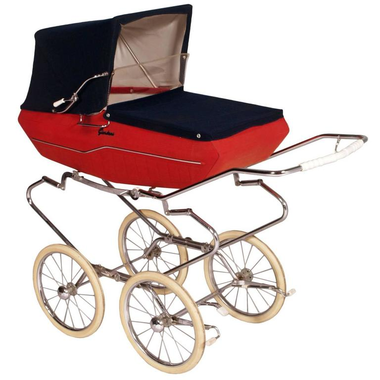 1950s Mid Century Modern Italian Baby Carriage Pram Stroller By Giordani For Sale