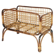 Mid-Century Modern Cradle in Bamboo and Rattam, Ico Parisi Style Period, 1950s