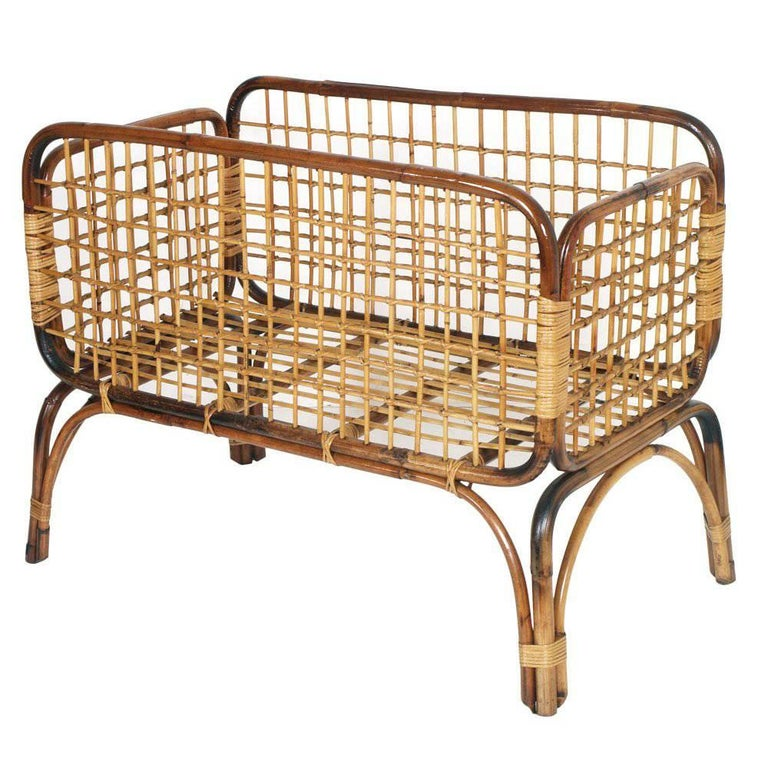 Mid-Century Modern Cradle in Bamboo and Rattam, Ico Parisi Style Period, 1950s For Sale