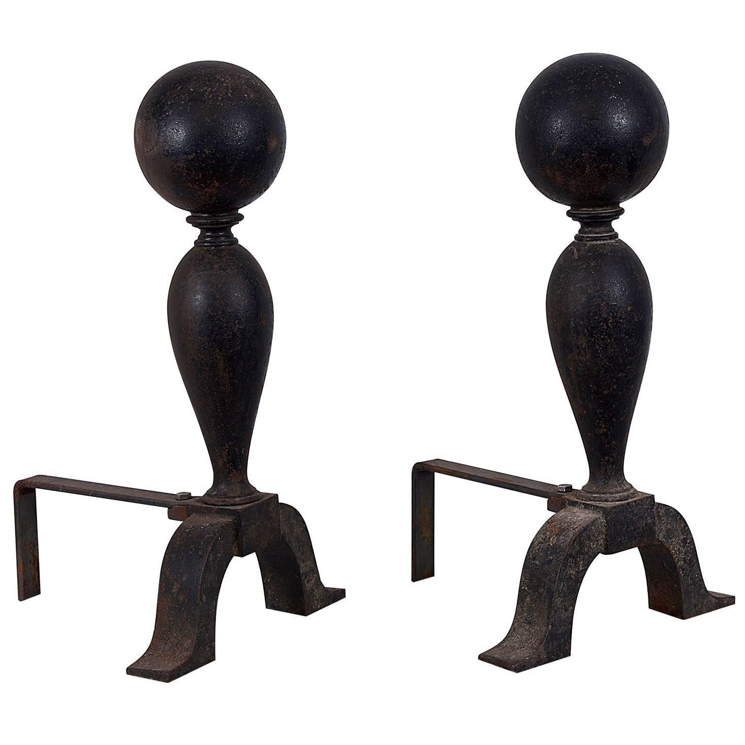 colonial cast iron cannonball andirons for sale at 1stdibs