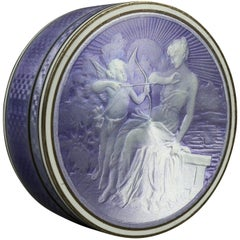 French Bas Taille Enamel on Silver Box