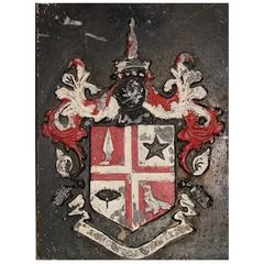 Coat of Arms Cast Iron Wall Plaque, Late 18th-Early 19th Century