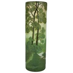 Art Nouveau Legras Vase with Pines Lake Landscape