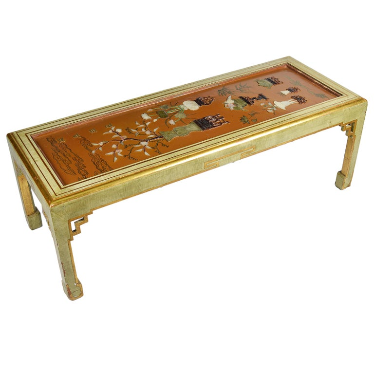 Antique Chinese Lacquer Panel, Coffee Table For Sale