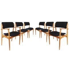 Six Erik Buch Mid-Century Teak Dining Chairs, Denmark, 1960s