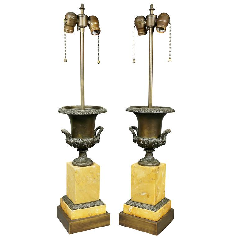 Pair of Charles X Sienna Marble and Bronze Urns Mounted as Lamps