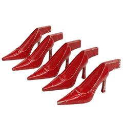 Set of Five x 1950s Red Metal High Heel Stiletto Shoe Display Pop Art