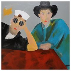 'Pet Shop Boys' 1980s Portrait Painting by Alan Fears Pop Music