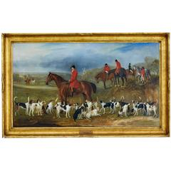 Large 19th Century Sporting Hunt Oil Painting by John Fernely Junior