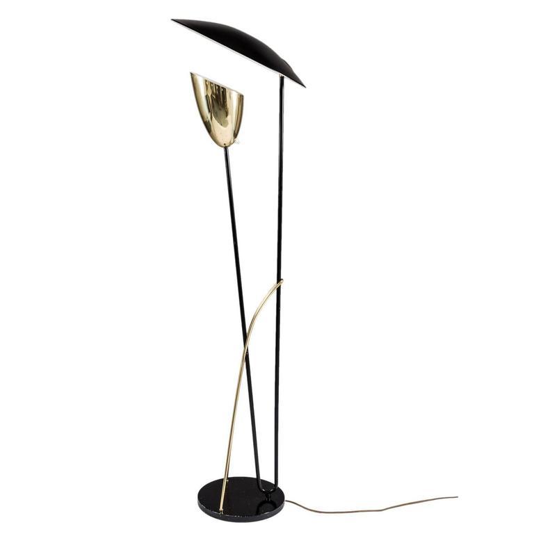 Scandinavian Floor Lamp in Metal and Brass by Holm Sorensen