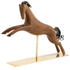 Werkstatte Hagenauer Vienna Galloping Horse Precious Wood Brass, 1950