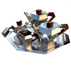 French Art Deco Cubist Silvered Plated Tea Set by Noel Collet