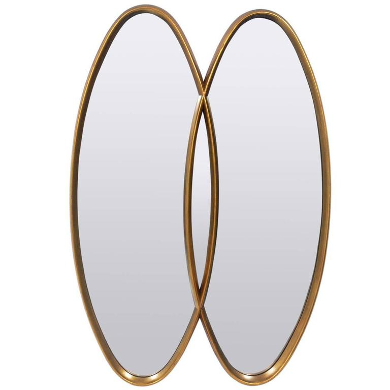 Modernist Oval Gold Leaf Double Mirror