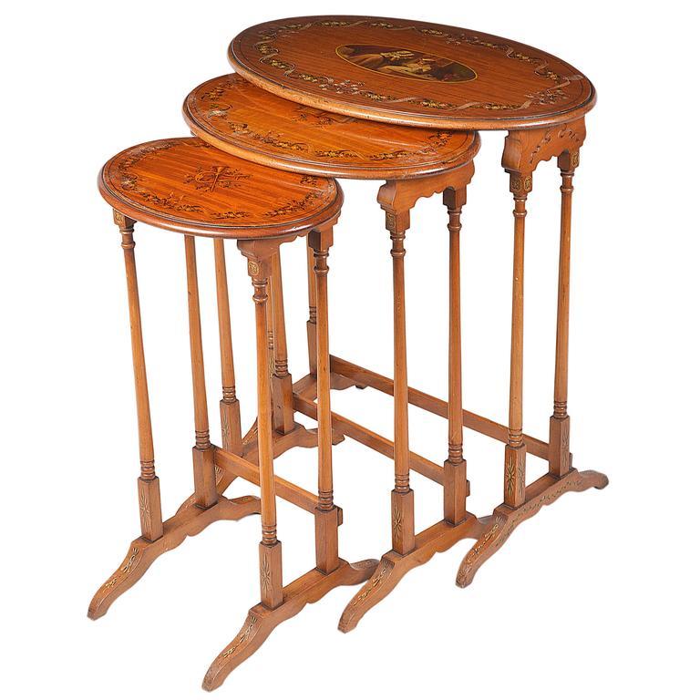 Nest of Three Edwardian Satinwood Tables