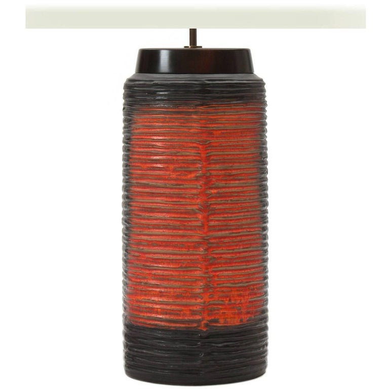 Black and Red Table Lamp For Sale