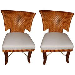 Pair of Danish Modern Handwoven Leather Dining Room Chairs