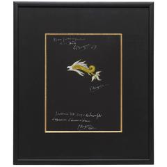"1962 Georges Braque ""Python"" Gouache on Black Paper for the Braque Jewels"