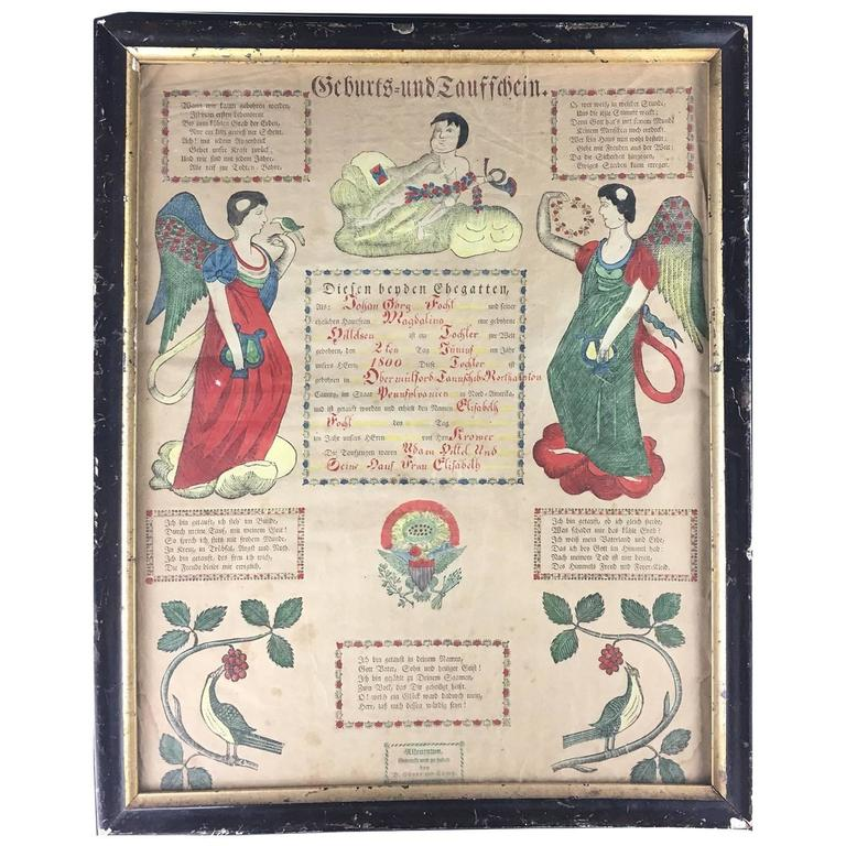 Pennsylvania German Printed German Birth And Baptism Certificate