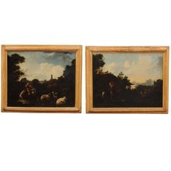 Pair of 18th Century Italian Oil on Canvas Landscape Painting