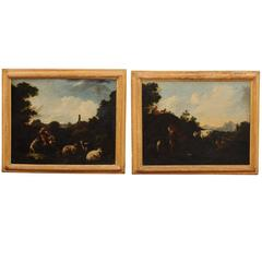 Pair of 18th Century Italian Oil on Canvas Landscape Painting