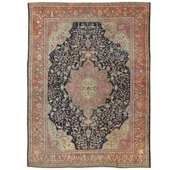 Antique Sarouk Farahan with Floral Motifs in Salmon, Green, Beige and Navy Blue