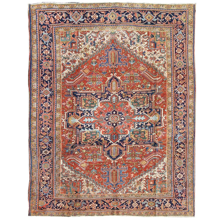 Antique Heriz Carpet with Complex, Entwined Patterns and Intricate Border